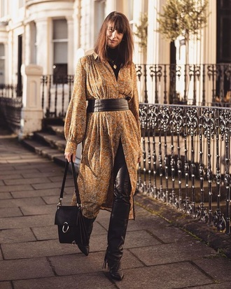 dress black pants leather pants boots black boots floral dress midi dress long sleeve dress pants bag