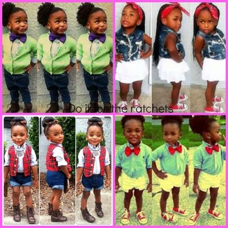 blouse boots tie bandana shorts vest skirt denim jacket pants levis kids fashion cutie black girls killin it