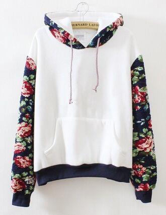 sweater floral jumper white black