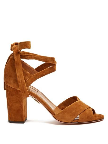 Aquazzura heel sandals suede tan shoes