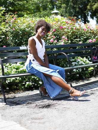 celeajade blogger top shoes sandals high heel sandals white top pants