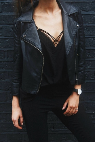 tank top tumblr outfit top blouse black chic elegant jacket