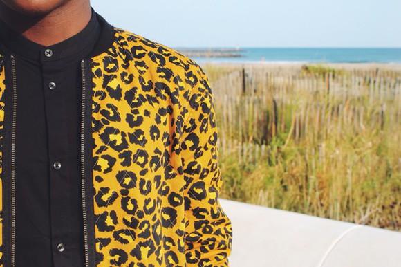 jacket leopard print yellow h&m