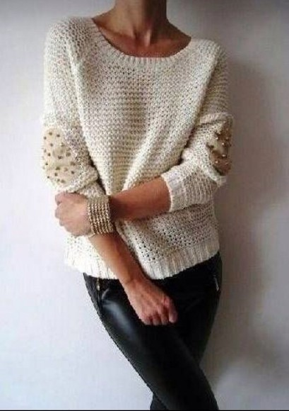 sweater elbow patch jeans