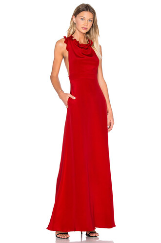 gown sleeveless ruffle red dress