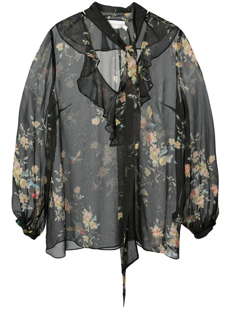 Zimmermann blouse ruffle women black silk top