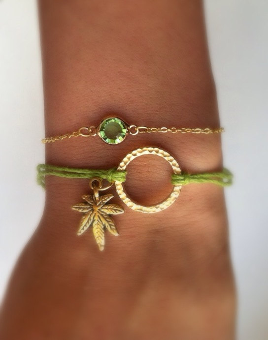 Super cute cannabis charm hemp bracelet by eggsandbakey on etsy