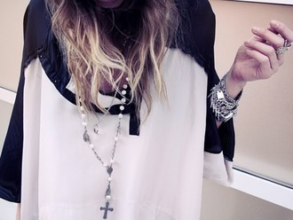 blouse chiffon black sleeves creamy bead necklace dip dye hair