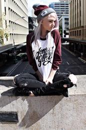 jeans,hat,shirt,black ripped jeans,red hat,grey hat,winter hat,t-shirt,maroon shirt,sweater,college,baseball shirt,black,ripped jeans,ripped,skinnies,blouse,red sweater,white sweater,idk,streetwear,streetstyle,emo,scene,cute beanies,oversized sweater,kawaii dark,kawaii,grunge top,grey maroon bugandy,red maroon burgandy  shirt t white  grey,black skinny jeans,cardigan