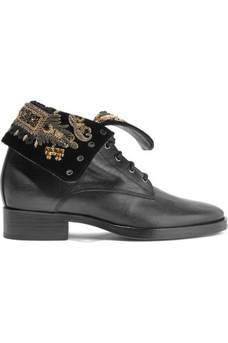 leather ankle boots embellished boots ankle boots leather black velvet shoes