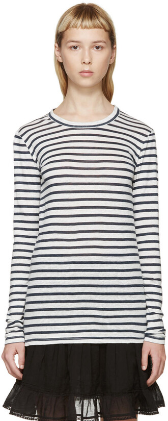 t-shirt shirt striped t-shirt white blue top