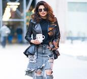 popsugar fashion,blogger,tights,pants,jeans,ripped jeans,leather jacket,fall outfits
