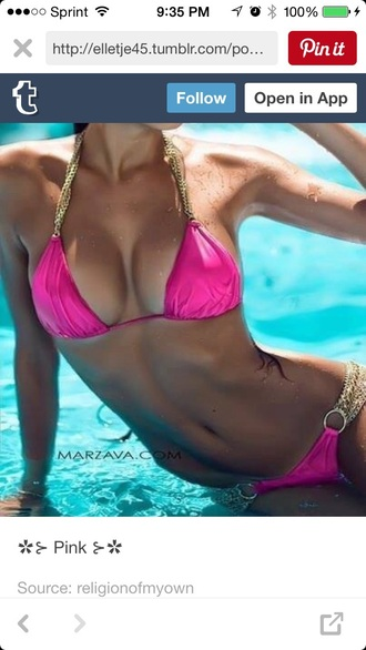 swimwear pink chain sexy summer water funny love sparkle cute bright bikini pink bikini hot pink suit style fashion sexy bikini beach ocean miami neon