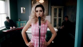 dress pink dress plaid vintage 60s style yes marina and the diamonds