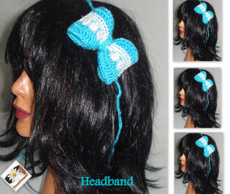 headband hair accessories crochet women crochet headband gift ideas blue headband white and blue hair clip white headband