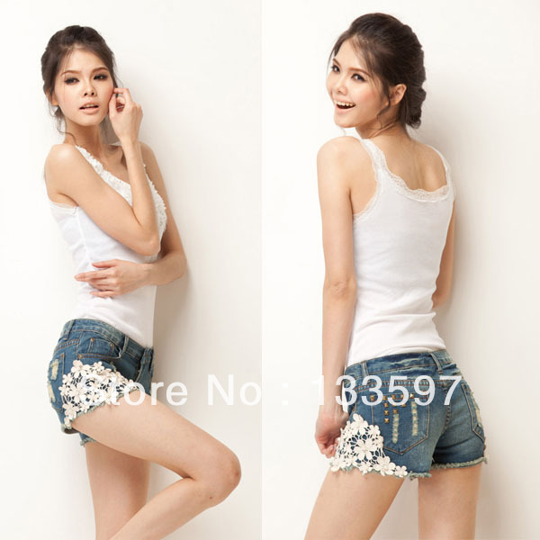 Fashion Cut Off Denim Short Pant Trouser Vintage Womens Lace Flower Skinny Jean Shorts Floral for free shipping-in Shorts from Apparel & Accessories on Aliexpress.com