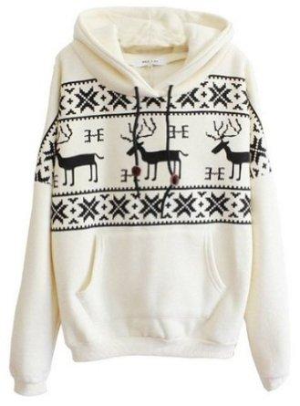 Sheinside women beige long sleeve deers print pocket front hoodie pullover sweatshirt (xl, beige): amazon.co.uk: clothing