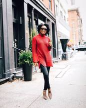 shoes,ankle boots,leopard print,leather pants,turtleneck sweater,red sweater