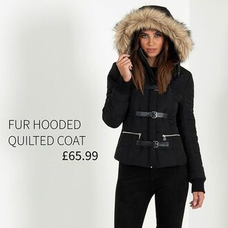 coat maniere de voir jacket padded quilted buckles fur trim detail hooded hood black white skiing