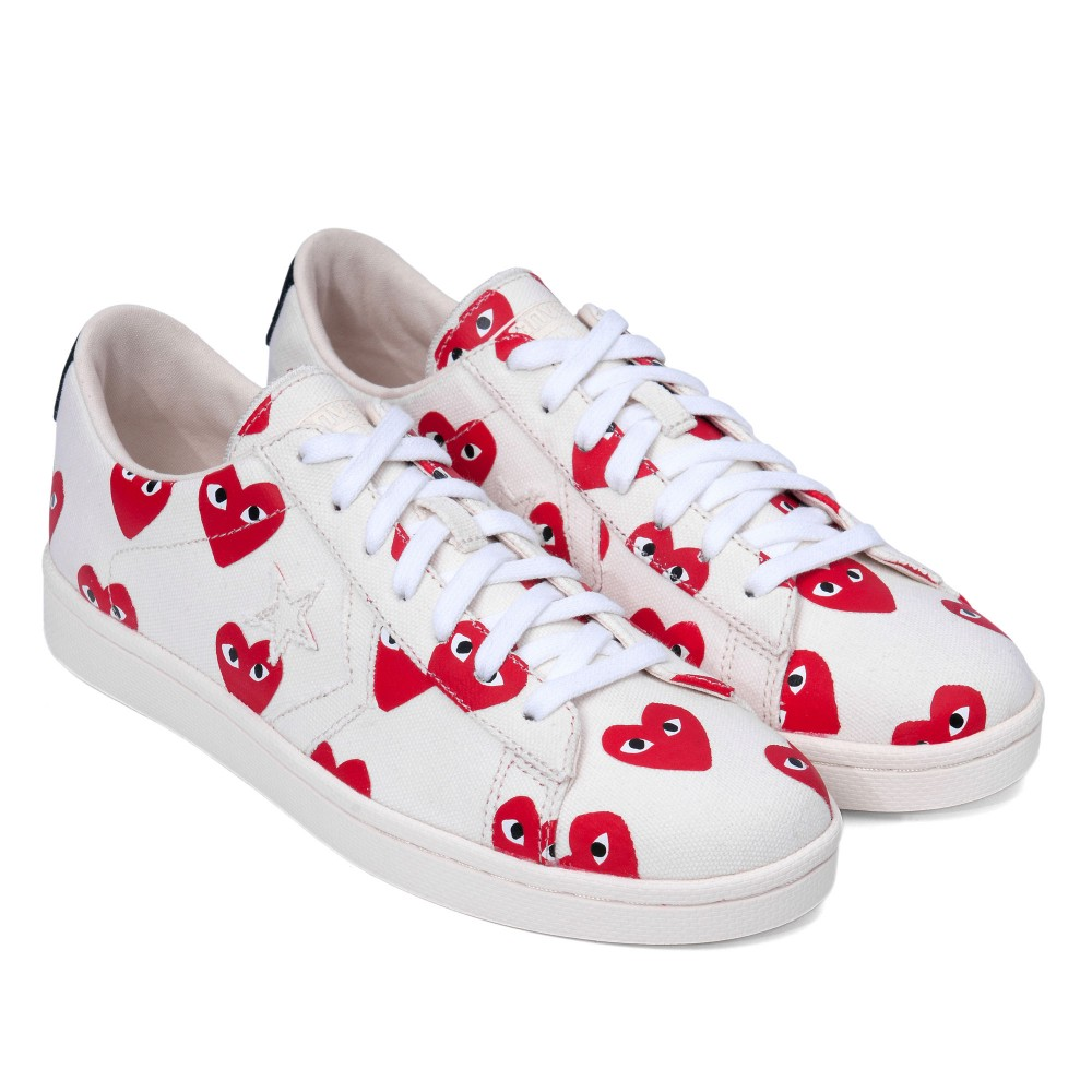 Play Converse Pro Leather Low (White / Red)