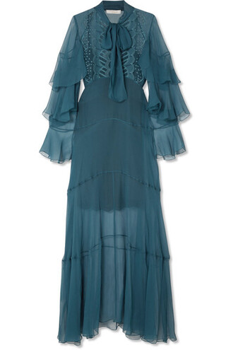 gown embroidered blue silk dress