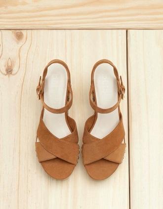 shoes wedges high heels suede brown beige summer wedges heels fashion vibe summer suede shoes