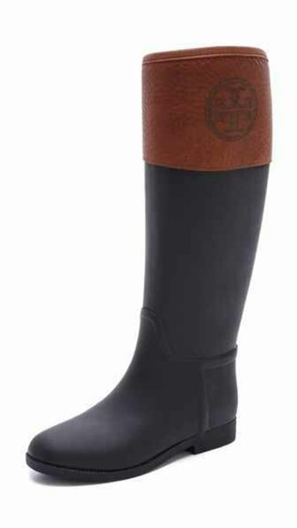 shoes black boots boots fashion rain boots tory burch