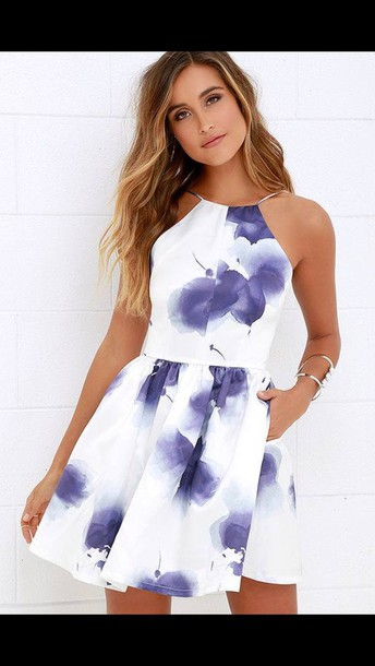 6dbe7ea524b2 dress white dress blue dress floral short dress white skater flowers violet  flowers purple flowers skater