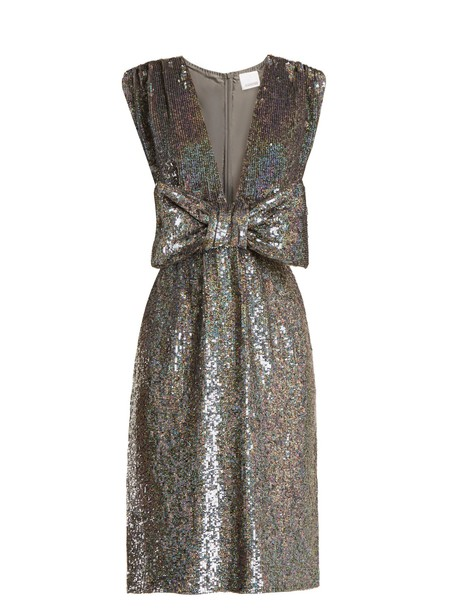 Ashish dress sleeveless dress bow sleeveless embellished dark grey