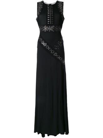 gown slit black dress