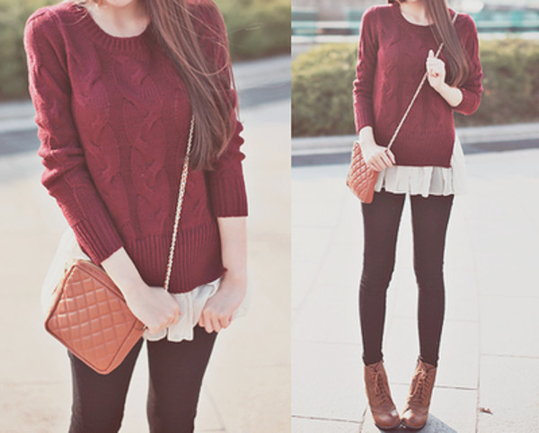 sweater leggings bag blouse winter sweater jeans shoes winter outfits fall outfits burgundy sweater