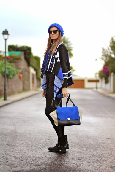 aztec marilyn's closet blog blogger cardigan bag blue beanie
