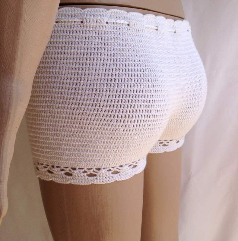 ivory shorts crochet shorts Clothing summer wear beachwear cotton soft beach shorts lace shorts swimsuit senoaccessory