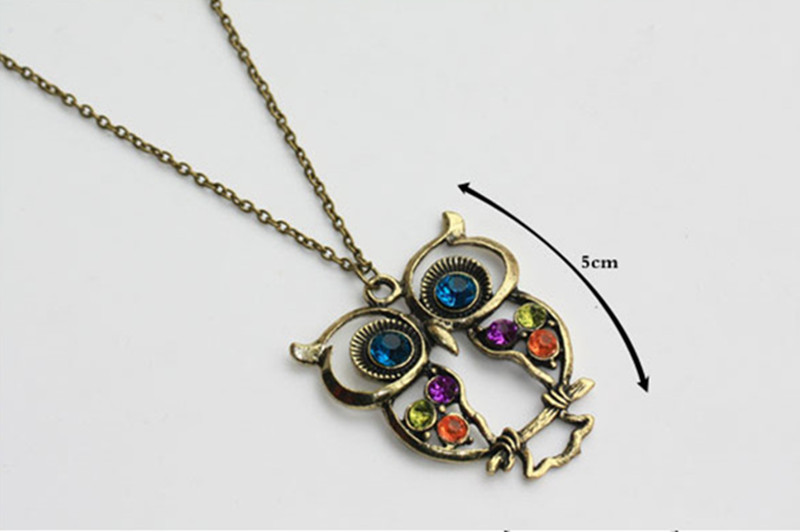 3pcs retro fashion blue eye owl necklaces hollow owl sweater necklace