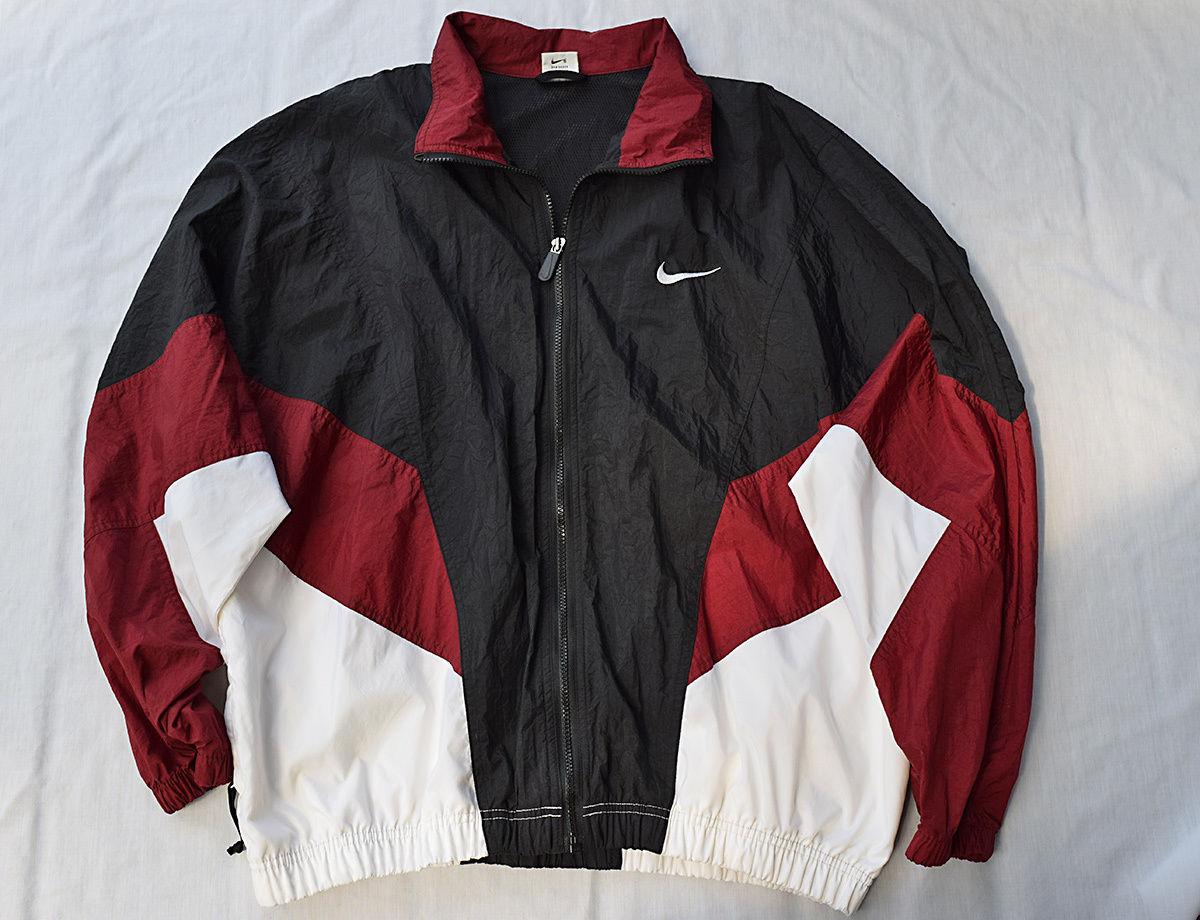 Vintage Nike Men s XL Zip Up Windbreaker Jacket w Pockets Black ... 73b7f02096