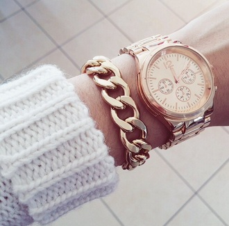 jewels gold bracelets chain watch geneva watch for girls women watches girly gold chain white white and beige