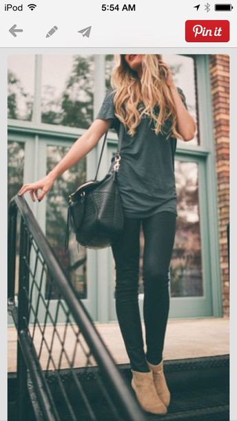 jeans everything bag shoes tan boots black bag casual pants casual grey easy shirt black black bag booties fall outfits ankle boots leather bag baggy shirt baggy t-shirt long long shirt top black comfy
