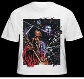 t-shirt,top,jimi hendrix,jimi,hendrix,psychedelic,rock,guitar,psych,shirt,haut,white t-shirt,galaxy shirt,hippie,70s style