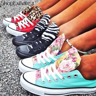 shoes converse leopard print zebra print floral red black turquoise zebra white flowers all-star red converse black converse sneakers multicolor sneakers