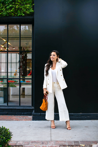 bag white top top blazer white blazer pants white pants shoes sandals