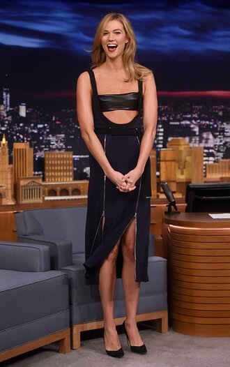 dress top bandeau bralette crop tops skirt model karlie kloss pumps double slit skirt zip zipped skirt zip-up skirt