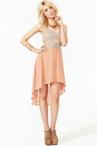 dress nastygal pastel dress pastel asymmetrical skirt asymmetrical cut-out dress