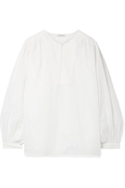 MES DEMOISELLES blouse embroidered white cotton top