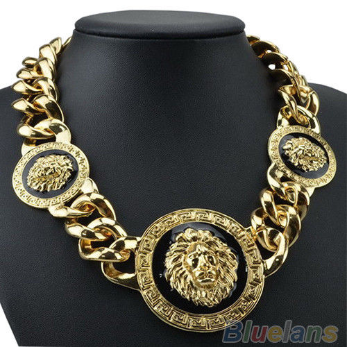 Antique Gothic Punk Chunky Gold GP Lion Head Choker Bib Statment Necklace B44U | eBay