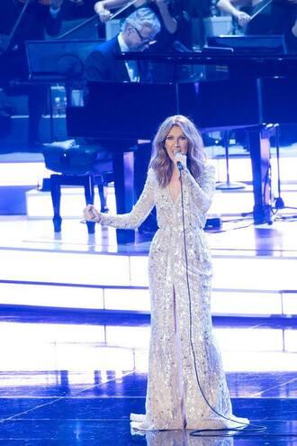 dress silver dress maxi dress long dress wrap dress slit dress v neck dress v neck metallic dress celebrity singer