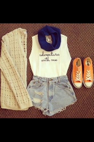 tank top grey shorts shirt shoes cardigan adventure cool
