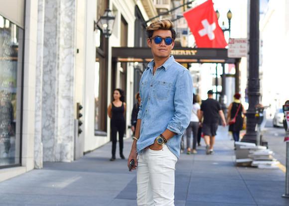 jeans blogger menswear alexander liang sunglasses denim shirt mirrored sunglasses denim