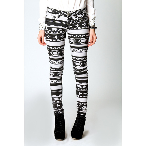 4070fc5f05ad0 Hope Winter Washed Aztec Print Skinny Jeans - Polyvore
