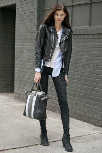 shoes white shirt black leather jacket black skinny jeans black ankle boots blogger