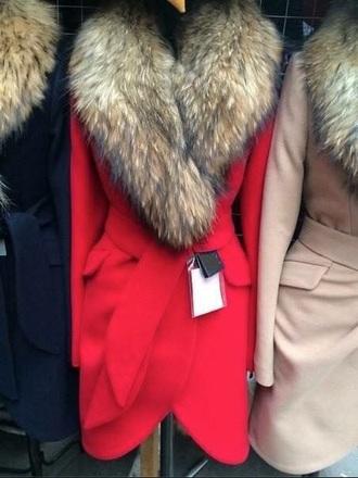 coat fur collar russian royal blue blue jacket red red coat fur coat fur trench coat
